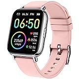 Smartwatch, 1.69' Reloj Inteligente Mujer Impermeable IP68 Pulsera Actividad 24 Modos Deporte con Pulsómetro Monitor de Sueño Monitores Actividad Cronómetros Calorías Podómetro para Android iOS, Rosa