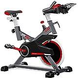 Fitfiu Fitness BESP-100 - Bicicleta indoor con disco de inercia de 16 kg y resistencia regulable, Bici de entrenamiento fitness con sillín ajustable, pulsómetro y pantalla LCD
