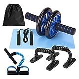 Lixada Rueda Abdominal Kit 5 en 1 con Push-UP Bar Cuerda para Saltar Esterilla de Rodilla para Entrenamiento Muscular Fitness Ejercicio en Casa