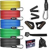AGM Set de Bandas de Resistencia Fitness, 5 Bandas elásticas de látex con Asas, Bandas elásticas para Entrenar con Soporte de 100lbs, para Equipos de Fitness, Yoga, Pilates, Terapia física.