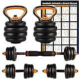 Amazon Brand – Umi Juego de Mancuernas Kettlebell y Barra de musculación con Disco 20 kg Cada Unidad