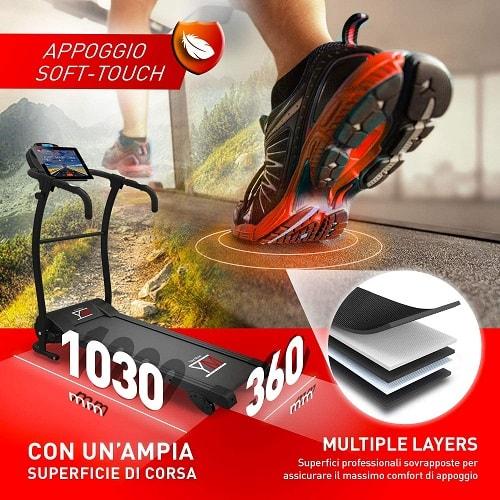 YM Cinta de Correr Bluetooth 1800 W / 2,5HP Kinomap Multijugador