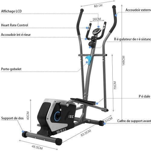 ISE Bicicleta Elíptica de Fitness para el hogar